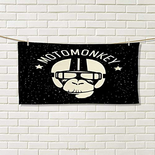 Chaneyhouse Outer Space,Hair Towel,Sign Alien Monkey with Astronaut Costume in a Galaxy with Stars Poster,Quick-Dry Towels,Black and White Size: W 8
