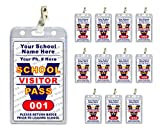 School Visitor Pass Badges (12 pcs) - PVC Plastic {Custom Printed with Your School Name} 12 pcs - Badge Holders & Clips Included