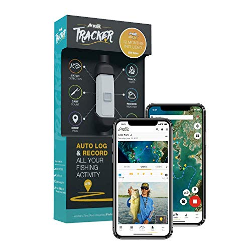 ANGLR Labs Fishing Tracker and Catch Sensor for Fishing Rod - Bluetooth Enabled for Smartphone - Includes Tracker, Mounts, Charger, and Free GPS App
