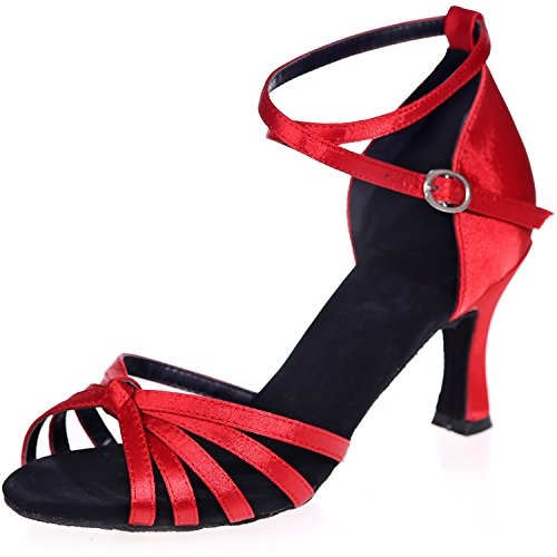 Clearbridal Women's Satin Latin Dance Shoes Buckle Ankle Strap Salsa Ballroom Sandals High Heel ZXF8349-08A Red