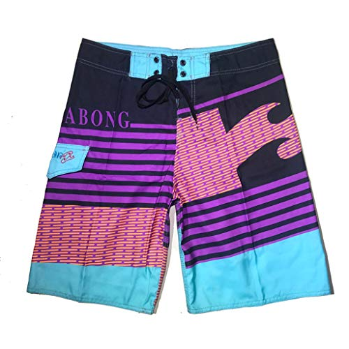 Summer Short Pants Forthery Mens Fashion Stripe Print Pants Quick Dry Beach Broad Shorts Swim Trunks for Boys(Multicolor,L=34)