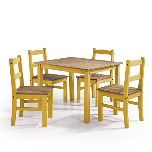 Manhattan 4 Piece - Manhattan Comfort York Collection Reclaimed and Modern 5 Piece Pine Wood Dining Set with 4 Chairs and 1 Table, Yellow/Wood