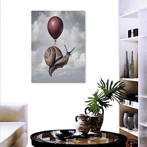 Anyangeight Surrealistic Decorate Stickers Wall Snail Hovering in Sky A Balloon Home is Where The Heart is Print Wall Art Stickers 20