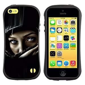 Suave TPU GEL Carcasa Funda Silicona Blando Estuche Caso de protección (para) Apple Iphone 5C / CECELL Phone case / / Helmet Biker Chick Girl Woman Black /