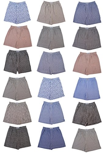 Chereskin Men's 18 Pack Full Cut Cotton Boxers Sleep Shorts Value Pack (Large, - Sleep Boxer Shorts