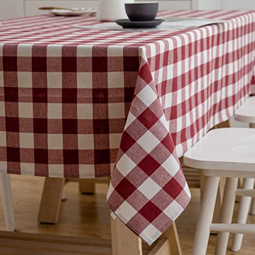 Aquazolax Red Gingham Plaid Table Cloth Decorative Table Cover for 6 Foot Rectangle Table, 54