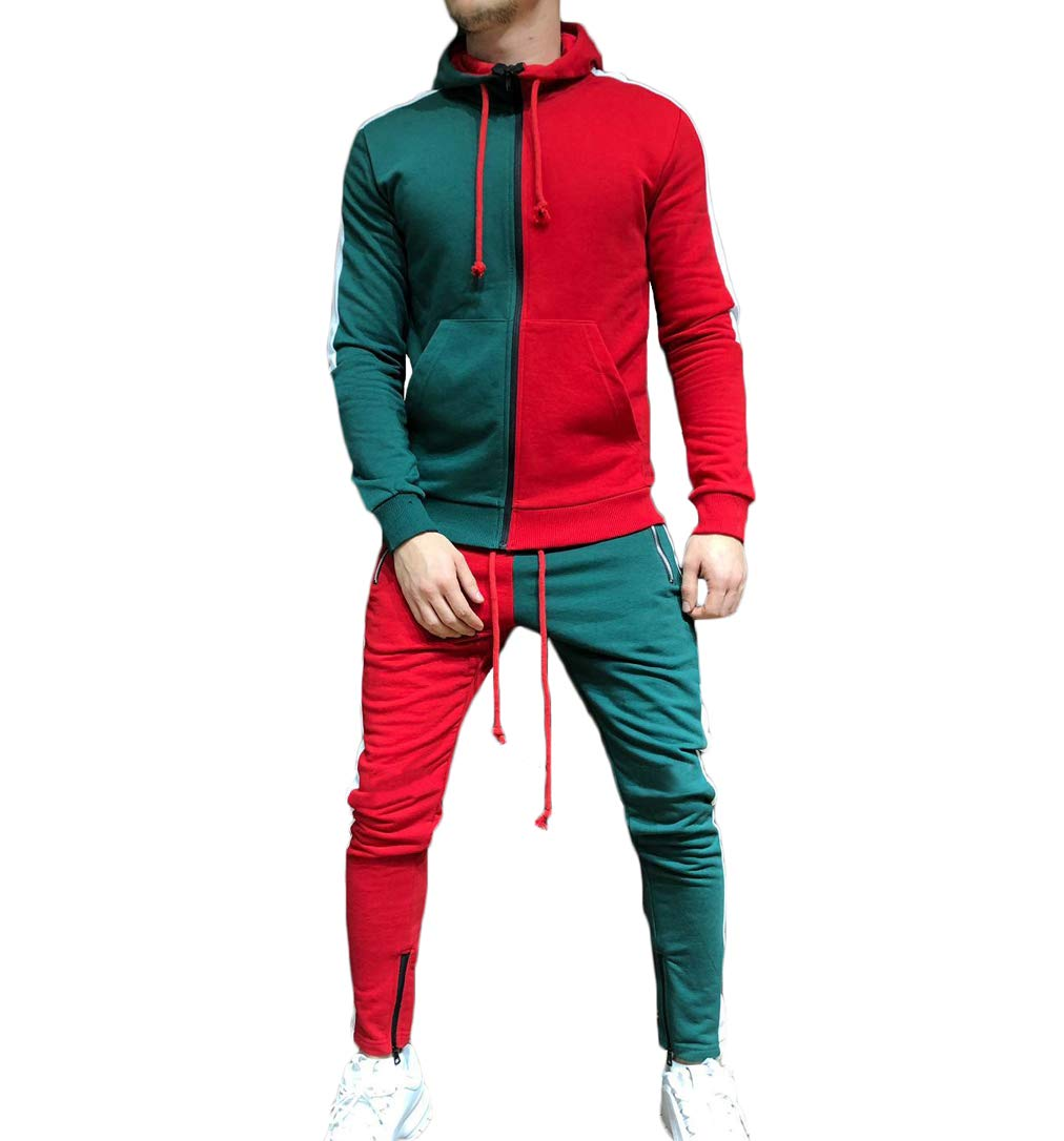 Men's Tracksuit Set Camouflage Sweatshirt Jogger Sweatpants Solid Patchwork Warm Sports Suit (Red-Green, M) by lisenraIn