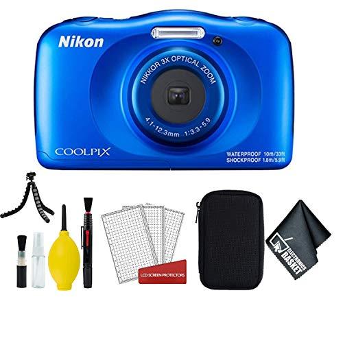 Nikon Coolpix W150 Wi-Fi Rugged Waterproof Digital Camera (Blue) 13.2 MP Bundle with Carrying Case + More (International Model)