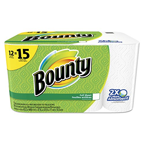 (Bounty 95032 Perforated Towel Rolls 2-Ply White 11 x 10 1/5 50 Sheets/Roll 12 Roll/Pack)