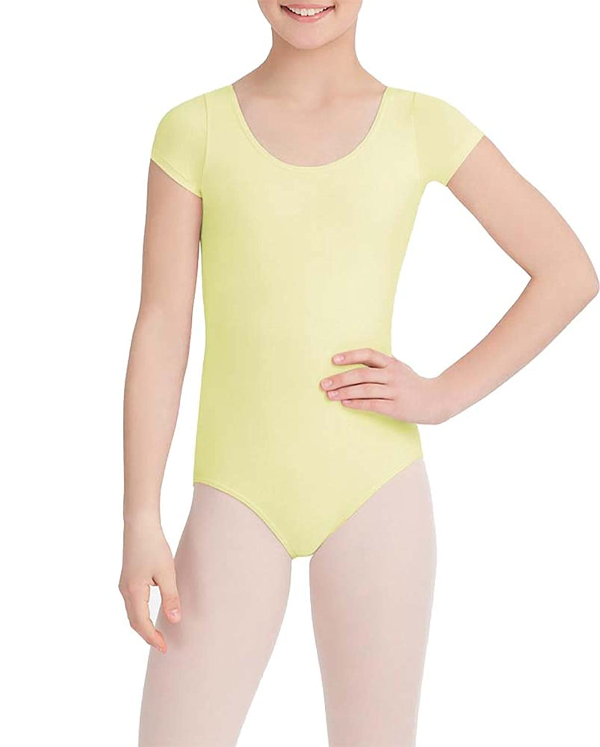 Capezio Kids Baby Girl's Classic Short Sleeve Leotard (Toddler/Little Kids/Big Kids) Butter Youth Large Big/10-12