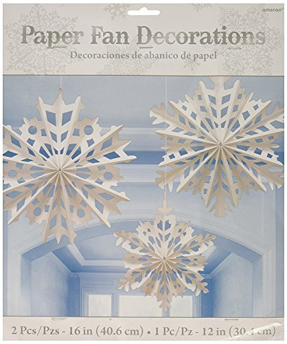 Amscan Winter Wonderland Christmas Snowflake Paper Fan Hanging Party Decoration (6 Piece), White, One Size
