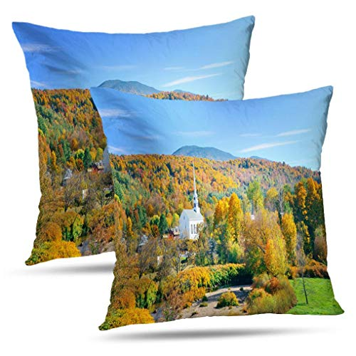 Coeny Autumn-Colors Decorative Pillow Covers,Set of 2 18x18 Inch Cushion Cover, Autumn with Colorful Cotton and Ployster Blend Pillow Cases for Sofa Bed Home Car,Autumn Colorful (Best Places To See Fall Foliage New England)