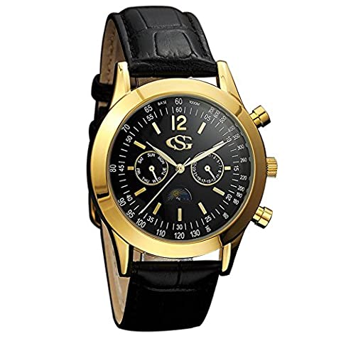 GEORGE SMITH Men's Sun Moon 44 mm Black Dial Chrono 2 Eye Date Wrist Watch with Genuine Leather (Chrono Watch Sport)