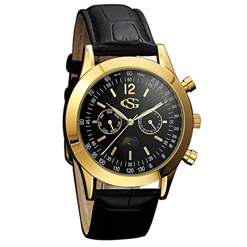 GEORGE SMITH Men's Sun Moon 44 mm Black Dial Chrono 2 Eye Date Wrist Watch with Genuine Leather Band