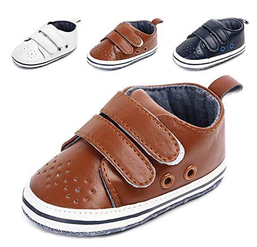 Anrenity Baby Girls Boys Toddler Hook-and-Loop Moccasins Prewalker Sneakers Lightweight Shoes BBS-014 Brown 6-9 Months ()