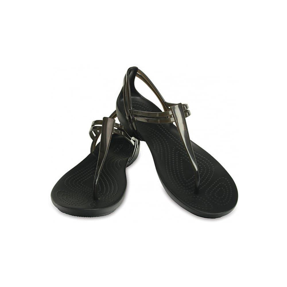 Crocs Women's Isabella T-Strap (8 M US, Black/Black)