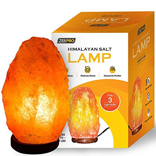 Zekpro Himalayan Salt Lamp [3X Free Bulbs] Natural Shape Crystal Pink Salt Light with Solid Wooden Base | Air-Purifier Rock Salt Lamp 8 lbs to 11 lbs [Purifying The AIR, Reduce Asthma and Allergy