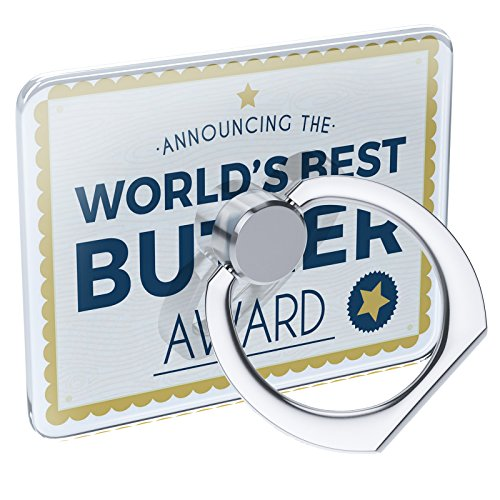 Cell Phone Ring Holder Worlds Best Butler Certificate Award Collapsible Grip & Stand Neonblond