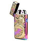 Kivors USB Rechargeable Windproof Flameless Electronic Double Pulse Arc Cigarette Lighter Belief Chinese Dragon Lighter