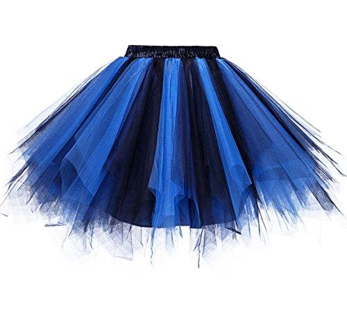 Dressever Vintage 1950s Short Tulle Petticoat Ballet Bubble Tutu Black/Blue 2XLarge -