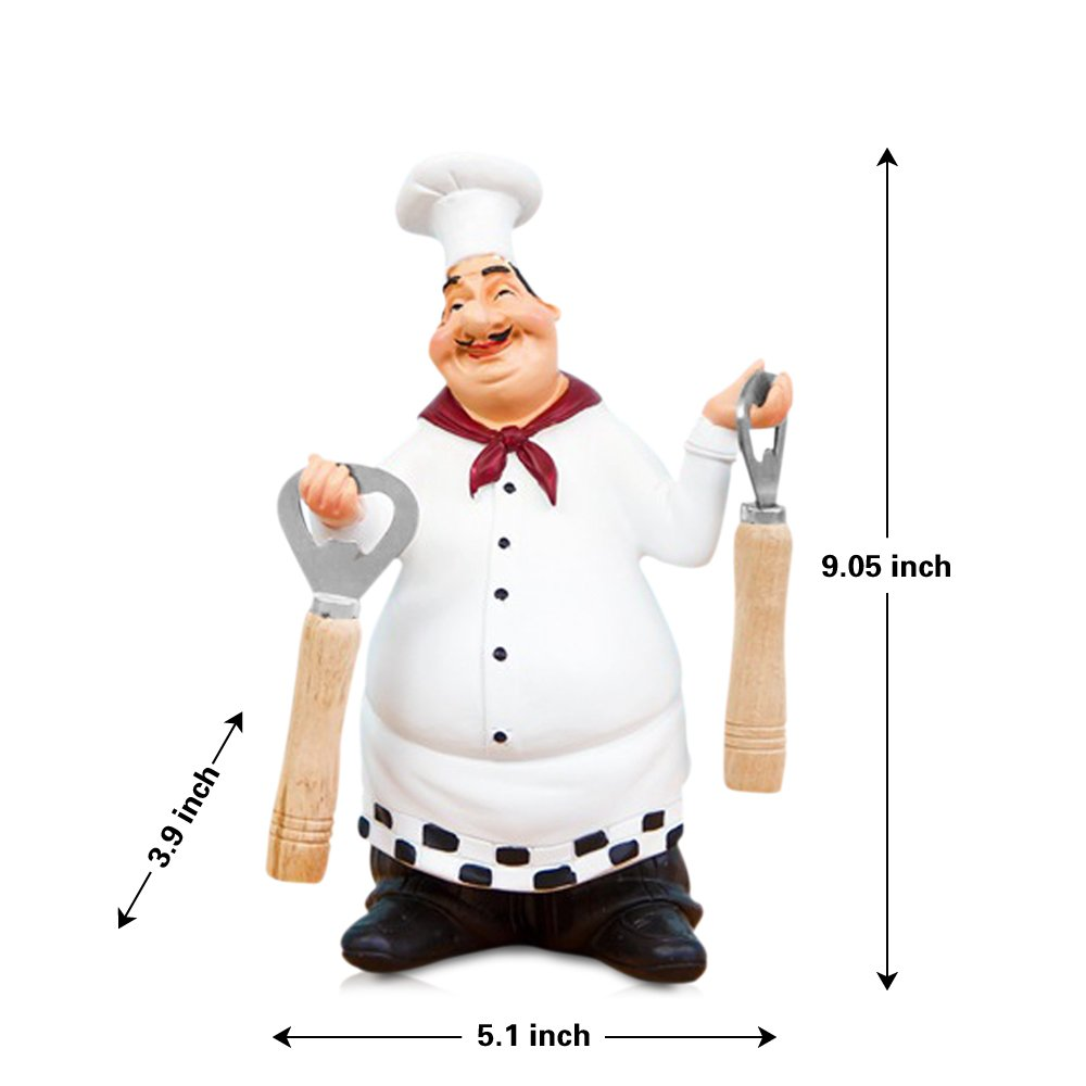 FishMM Resin Decorative Ornaments,Kitchen Decor,Cook Statue,French Chef Figurines with Beer Opener