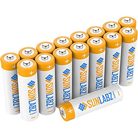 SunLabz Rechargeable Batteries, Ultra-Efficient NiCD AA (16 Pack) - Rechargeable Aaa Nicd Battery