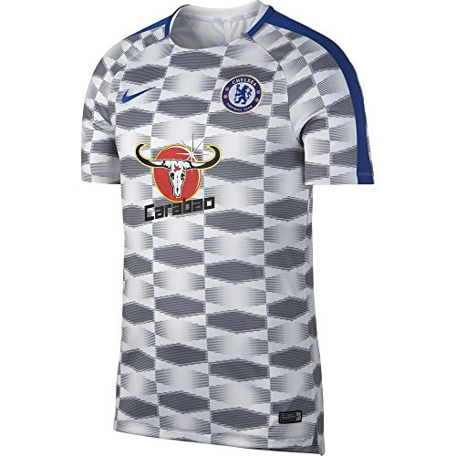 Nike Men's Chelsea NK Squad Top SS GX Soccer Training Jersey (Large) Rush Blue, White