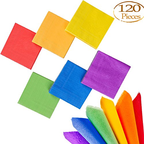 Paper Party Luncheon Napkins - Whaline 120 Pieces Cocktail Paper Napkin Beverage Luncheon Napkins 2 Ply for Party Decoration (Rainbow Color)