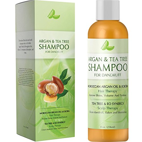 Argan & Tea Tree Shampoo for Dandruff – With Moroccan Argan Oil and Jojoba for Shiny + Smooth Hair – Tea Tree Lavender and Rosemary Reduces Dandruff and Cleans The Scalp – For Women & Men by Honeydew ()