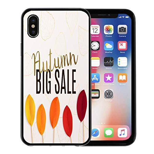 (Emvency Phone Case for Apple iPhone Xs Case/iPhone X Case,Red Collection Big Autumn Sale Fall Flyers Colorful Leaves Soft Rubber Border Decorative, Black)