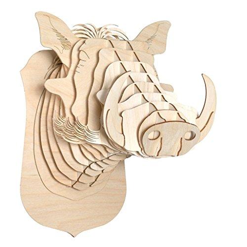 Antler Home Cardboard Safari Baltic Birch Plywood Animal Taxidermy Warthog Trophy Head, Winston - Antler Faux Birch