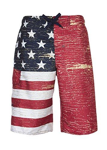 Laguna Boy's American Flag USA Board Short Swimwear Trunks Red-18/20 by Laguna (Image #1)