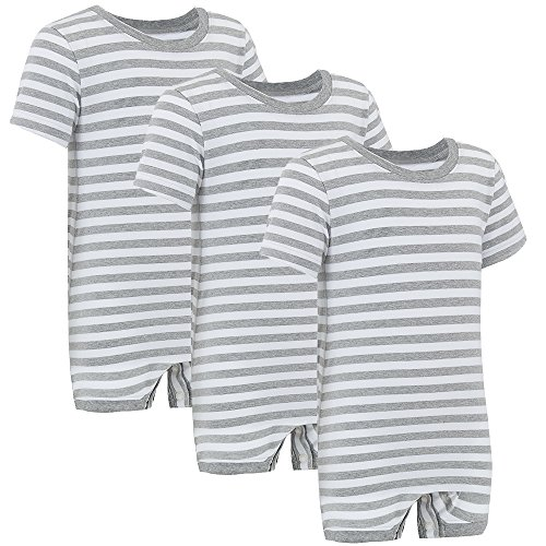 Special Needs Clothing for Older Children (3-16 yrs Old) - Short Sleeve Bodysuit for Boys & Girls by KayCey - Grey/White Stripe (Pack of 3) (15-16 Years Old) (Marks And Spencer T-shirt)