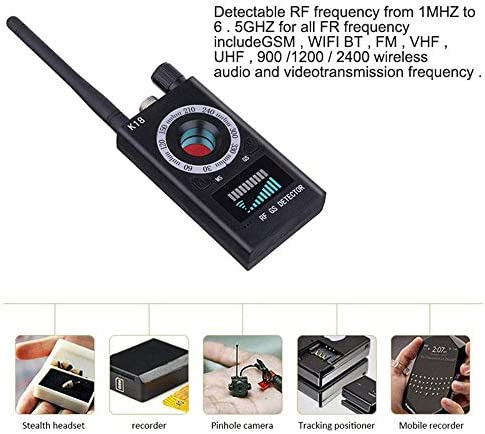 HoHoProv Anti-spy Detector, Hidden Camera Detector Wireless Bug Laser Lens GPS Signal Tracker RF Signal Detector