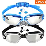 Swim Goggles, 2-Pack, Swimming Goggles, Mirrored lens, for Adult Men Women Youth Kids Child, Anti-Fog, UV Protection, Shatter-proof, Watertight
