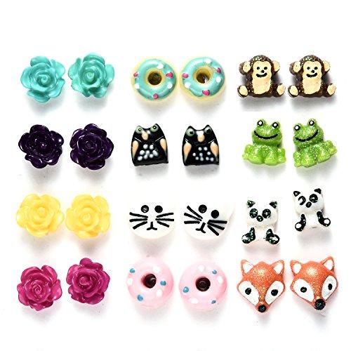 Oaonnea Variety Assorted Animal Stud Earrings Set,Hypoallergenic 12 Pairs