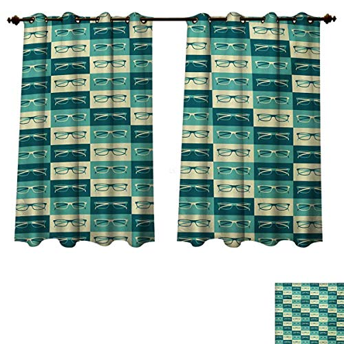 - Indie Blackout Thermal Backed Curtains for Living Room Pattern with Eyeglasses in Vintage Style Hipster Cool Collection Customized Curtains Petrol Blue Turquoise Cream W72 x L45 inch