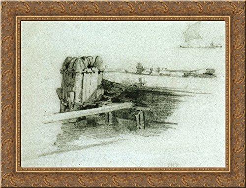 Boat at Bulkhead 24x18 Gold Ornate Wood Framed Canvas Art by John Henry Twachtman
