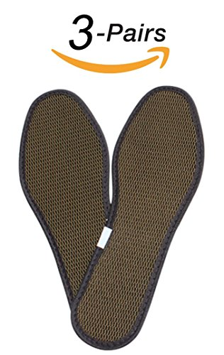 Bamboo Mens Shoes (Scheppend Bamboo Charcoal Deodorant Mesh Insoles Sweat-absorbent Shoe Pads,3 Pairs (Size 44(9.0 US Mens)))