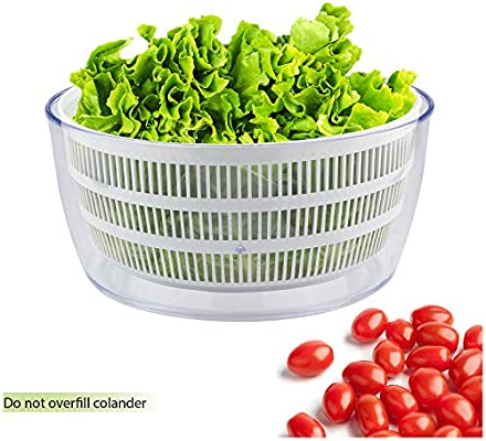 Fruit and Veggie Wash Container Tools GT Salad Spinner and Herb Dryer Big Lettuce Gadgets and Essentials Kitchenware Kitchen Accessories Large Clear Mixer Bowl Spinach and Greens Storage