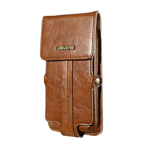 FLOVEME Genuine Leather Waist Card Holder Phone Pouch Tasche Hüllen Schutzhülle Case für iPhone 7 Plus / 6s Plus / 6 Plus - braun