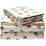 Cozy Flannel Queen Bed Sheets, Casual Sand Owls Bed Sheet, Bed Sheet Set 4-Piece Include Flat Sheet, Fitted Sheet & 2 Pillowcases