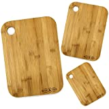 3 Bamboo Chopping Board Set | x3 Different Size Kitchen Set | Wooden Cutting Board Suitable For All Food Types | 100% Natural Bamboo | M&W