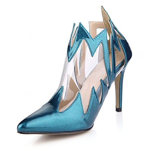 Best 4U® Sandalias de verano para mujer Premium Tela especial punta estrecha 9.8CM Tacones altos suela de goma Zapatos azul pavo real , EU35