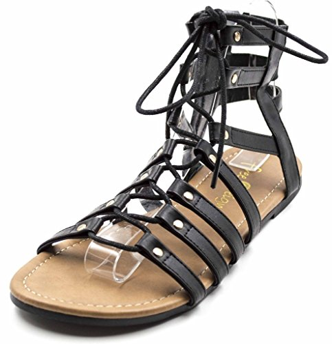 Orly Shoes Women's Wide Width Strappy Lace Up Gladiator Sandal in Black Size: 10W
