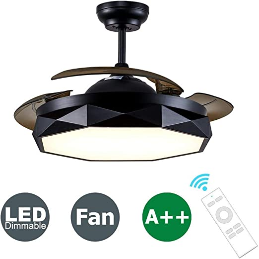 MUTANG Ventilador de techo pequeño negro con luces LED de control ...
