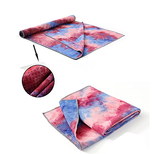 OTJ Portable Carry Yoga Mats Towel 4MM Tie-dye Colorful Anti Slip Silicone Exercise Mat Blanket Workout Mats Travel Pad Fitness Products Foldable +Bag (Pink) Review