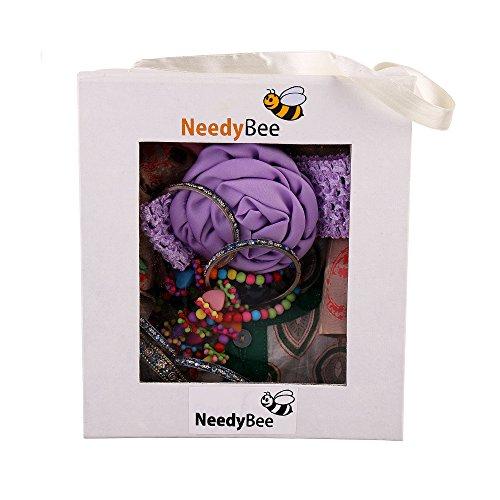 Gifts for Sister Rakhi Navratri, Durga Puja, Dussehra, Diwali Gift Hamper Baby Set Bangles, Jewelry, Dress, Kurta Pyjama, Headband Set by Needybee