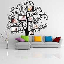 ( 55'' x 55'') Vinyl Wall Decal Tree with Picture Frames, Flowers & Butterflies / Family Photo Forest Branches Art Decor Sticker + Free Random Decal Gift!