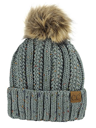 30ef989533389 C.C Thick Cable Knit Faux Fuzzy Fur Pom Fleece Lined Skull Cap Cuff Beanie